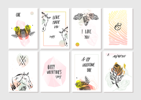 Hand made vector abstract graphic unusual tribal tropical exotic cards set collection in pastel colors isolated on white background.Unique cards design for Business,holidays,decoration,journaling Illustration