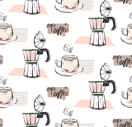 Hand made vector abstract textured seamless pattern of coffee concept with mug,milk,geyser coffee and handwritten modern calligraphy phase cup of coffee in pastel colors isolated on white.Coffee shop.