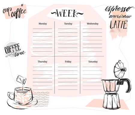 Hand gemaakt vector abstracte Scandinavische wekelijkse planner sjabloon met grafische koffie illustratie in pastel kleuren. Organisator en schema. Leuk en trendy. Ontwerp voor planning, journaling, zaken, dagboek.