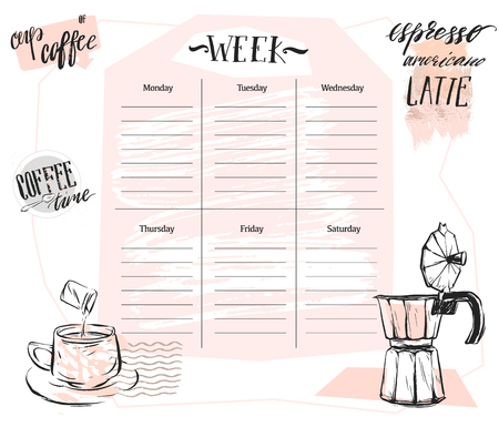 Hand made vector abstract Scandinavian Weekly planner template with graphic coffee illustration in pastel colors. Organizer and schedule. Cute and trendy.Design for planning,journaling,business,diary. Çizim