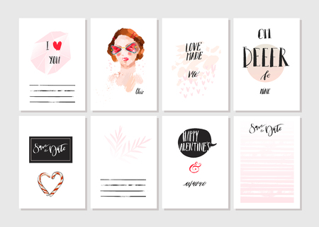 Hand made vector abstract graphic Save the Date unusual cards set collection in pink,black and white colors.Saint Valentines day collection.Unique cards design for Business,holidays,decoration,note. Ilustração