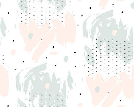 Abstract hand drawn black ink polka dot pattern