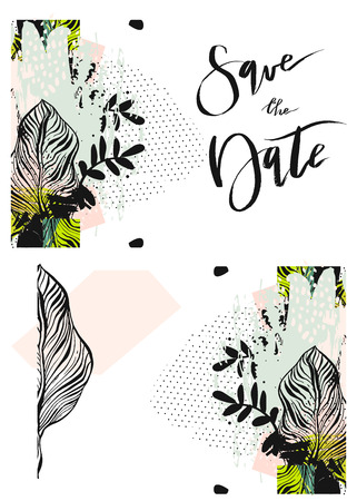 gold leaf: Hand drawn vector abstract modern boho tropical minimalistic save the date card template with exotic palm leaf reflect composition.Tribal Design for poster,card,invitation,placard,brochure,flayer.