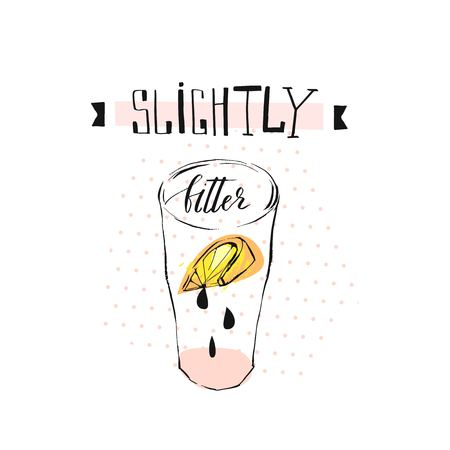 Hand drawn vector abstract creative funny lemonade illustration with glass beaker,lemon slise,drops and handwritten ink modern calligraphy quote Slightly bitter isolated on white.Menu,sign,logo