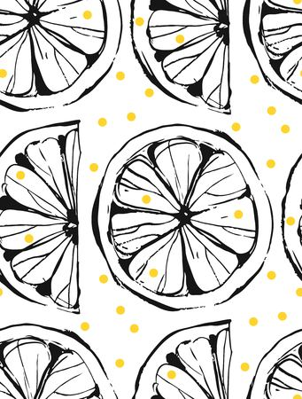Hand drawn vector abstract unusual summer time seamless pattern with lemon slice and freehand texture isolated on white background.Fashion,menu,journalling,logo,design,brand,lemonade concept.