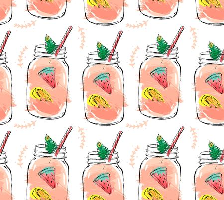 Hand drawn vector abstract summer time organic fresh fruits seamlees pattern with cocktail in glass bottle jar,watermelon,lemon slice and mint leaves in rose pink colors isolated on white background Illusztráció