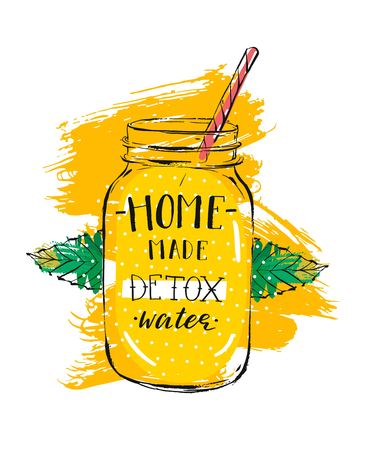 Hand drawn vector abstract creative detox water sign with glass jar,mint leaves and handwritten modern calligraphy quote Home made Detox water isolated on white background.Menu,logo design,stamp,sign