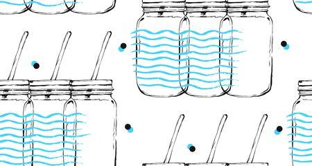 Hand getrokken vector abstracte grafische naadloze patroon met coctail glazen fles pot en golven uit de vrije hand textuur geïsoleerd op witte achtergrond. Detox water en zelfgemaakte limonade concept