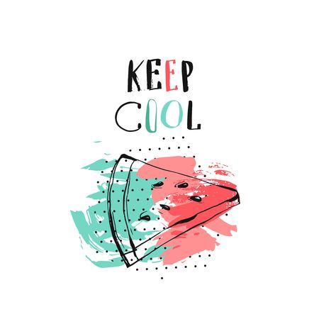 Bergeben Sie gezogene lustige Illustration der ungewöhnlichen Sommerzeit der Vektorzusammenfassung mit Wassermelonenscheibe, modernes Kalligraphiezitat Keep Cool. Standard-Bild - 78918761