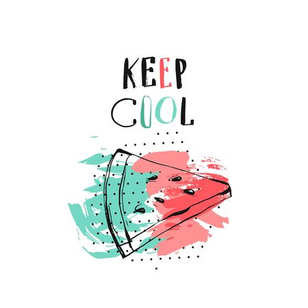 Hand drawn vector abstract creative unusual summer time funny illustration with watermelon slice,modern calligraphy quote Keep Cool.Journalling,birthday,fashion art. Stok Fotoğraf - 78918761