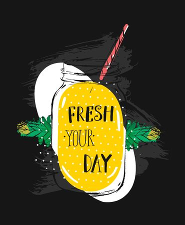 Vetor abstract creative summer time illustration with glass jar,lemonade,mint leaves and modern ink calligraphy quote Fresh your day.Sign,logo,stamp,tshirt design, menu. Illustration