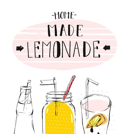 Hand drawn vector abstract summer time illustration with lemonade detox glass jar bottle and modern calligraphy quote Lemonade isolated on white background.Sign,logo.