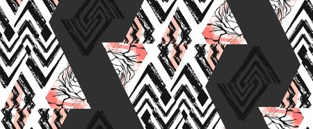 Hand drawn vector abstract freehand textured seamless pattern collage with zebra motif,organic textures,triangles isolated on black background.