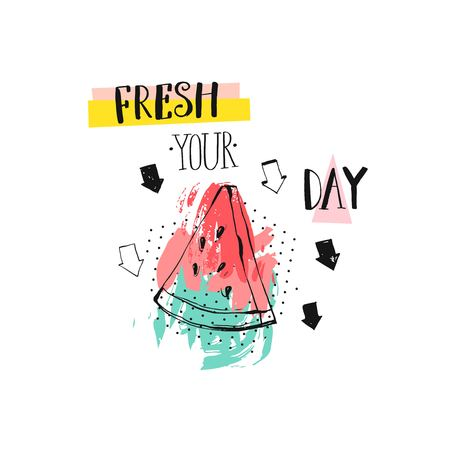 Vetor abstract creative funny summer time illustration with watermelomn slice ,arrows and modern ink calligraphy quote Fresh your day.Sign, logo, stamp, tshirt design, menu, shop.