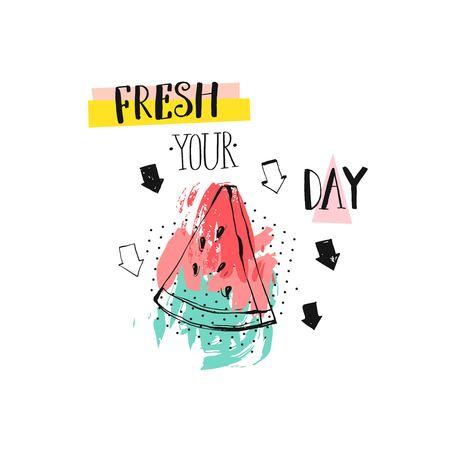Watermelomn スライス、矢印、モダンなインク書道引用新鮮な Vetor 抽象的な創造的な面白い夏時間図あなたの日。記号、ロゴ、切手、t シャツのデザイ  イラスト・ベクター素材