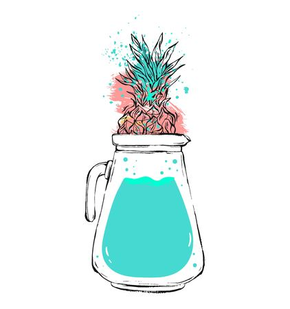 decanter: Hand drawn vector abstract creative unique summer time illustration with glass decanter with detox water and pineapple isolated on white background.Design for farmers market. Illustration