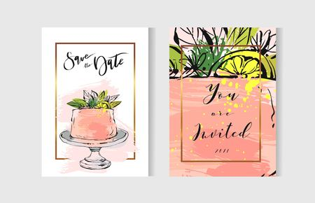 Vector abstract freehand textured unusual save the date cards set template with cake stand design,flowers,lemon,golden frame and modern calligraphy in peach colors.