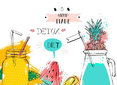Hand drawn vector abstract fruit detox background with glass jar,watermelon,lemonade,mint leaves,pineapple,freehand textures and handwritten modern calligraphy phase Home made detox diet isolated
