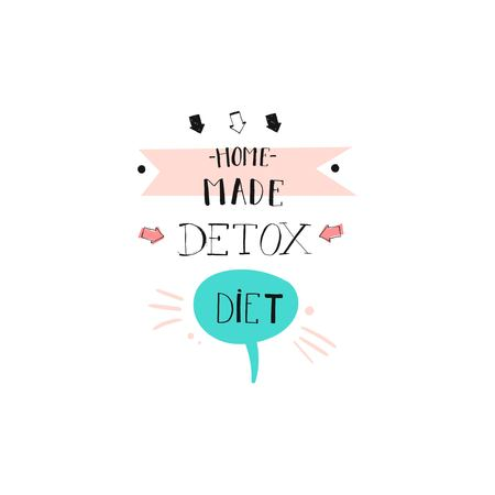 Hand drawn vector abstract creative detox diet sign stamp with handwritten modern calligraphy quote Home made Detox diet isolated on white background.Menu,logo design,sticker,tag,decoration,label