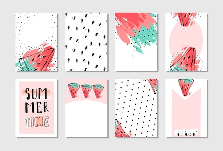 Hand drawn vector abstract textured funny summer time cards set template with watermelon slice in pastel colors isolated on white background. Illustration