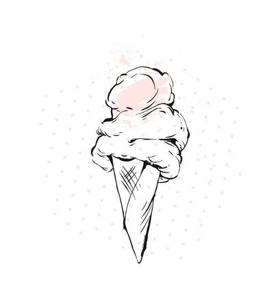 Hand drawn vector graphic brush drawing Ice cream cone in pastel colors with polka dot and freehand textures isolated on white background.Menu,kids party,sweet shop,ice cream sundae.
