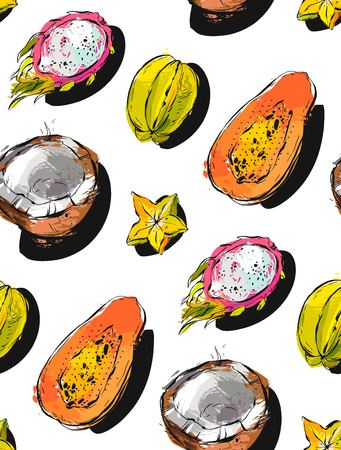 Hand drawn vector abstract freehand textured unusual seamless pattern with exotic tropical fruits papaya,dragon fruit,coconut and carambola isolated on white background. Ilustração