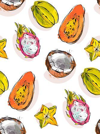 Hand getrokken vector abstract uit de vrije hand geweven ongebruikelijk naadloos patroon met exotische tropische vruchten papaja, draakfruit, kokosnoot en carambola die op witte achtergrond wordt geïsoleerd.