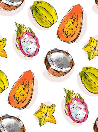 Hand drawn vector abstract freehand textured unusual seamless pattern with exotic tropical fruits papaya,dragon fruit,coconut and carambola isolated on white background. Illustration