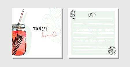 カード レシピ集料理手描きの背景抽象は、デトックス水飲むガラス瓶、レモンおよび熱帯シュロの葉と白い背景で隔離のテンプレートを設定します 写真素材