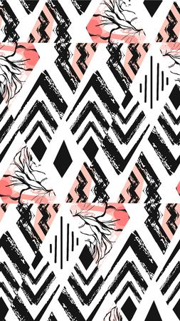 Hand drawn vector abstract freehand textured seamless pattern collage with zebra motif,organic textures,triangles isolated on black background Stock Photo