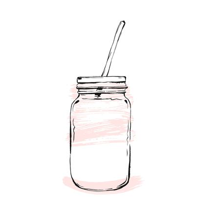 bowel: Hand drawn vector graphic Kitchen glassware utensils glass jar bowel drinking accessories isolated on white background with pastel colored freehand textures. Illustration