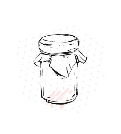 Raspberry jam jar glass isolated on white background. Mock up of vector jam jar glass good for presentation of raspberry jam jar.