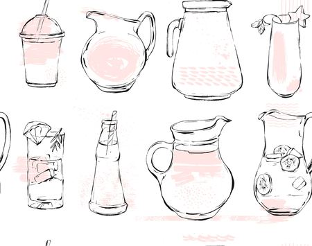 Hand drawn vector graphic Kitchen glassware utensils pitcher,bottle glasses bowel drinking accessories seamless pattern brush drawing isolated on white background with pastel colored freehand texture Illustration