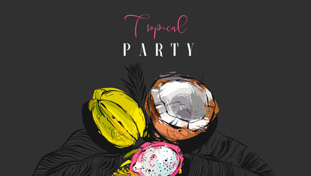 Hand drawn vector abstract artistic tropic party invitation poster with exotic fruits coconut,papaya,carambola ,dragon fruit and modern calligraphy quote Tropical Party isolated on black background