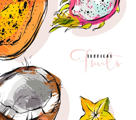 Hand drawn vector abstract freehand textured unusual background with exotic tropical fruits papaya,dragon fruit,coconut and carambola illustrations isolated on white
