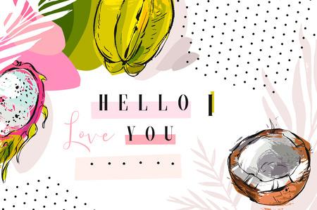 Diseño de invitación o tarjeta de boda con flores tropicales exóticas y hojas Foto de archivo - 80189070