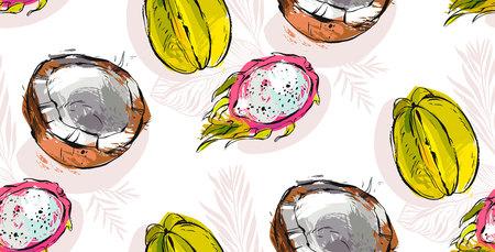 Een vector naadloos patroon met tropisch fruit. Zomer illustratie. Stock Illustratie