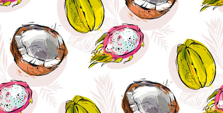 A Vector seamless pattern with tropical fruit. Summer illustration. Illustration