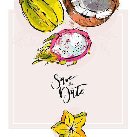 Hand drawn tropic vector abstract Save the date card template with collection of exotic fruits pitaya,carambola and coconut in bright colors isolated on white background.