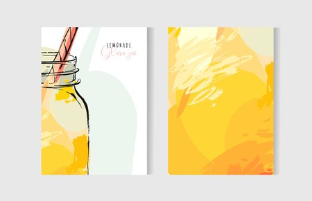 Las tarjetas de cocinar inusuales texturizadas a mano alzada abstractas del vector dibujado a mano fijaron la plantilla con el tarro de cristal de la limonada en colores amarillos aislados en el fondo blanco.