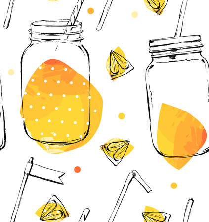 Seamless pattern with lemon and lime.