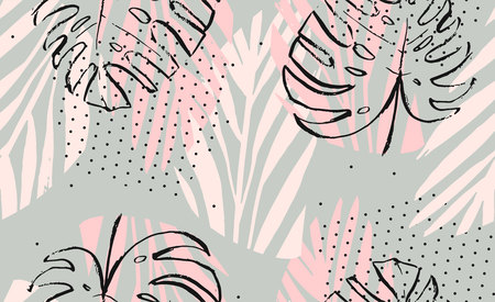 Hand drawn vector abstract artistic freehand textured tropical palm leaves seamless pattern in pastel colors with polka dots texture