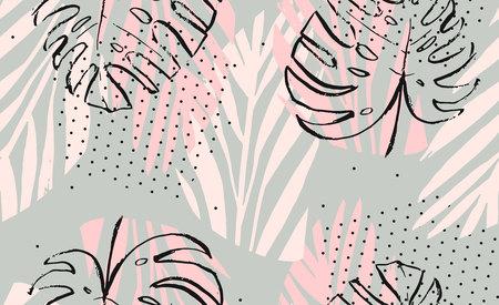 Hand getrokken vector abstracte artistieke freehand getextureerde tropische palm verlaat naadloze patroon in pastel kleuren met noppen textuur