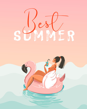 Hand drawn vector abstract fun summer time illustration card with girl swimming on pink flamingo float circle in blue ocean waves with modern calligraphy Best Summer Ilustrace