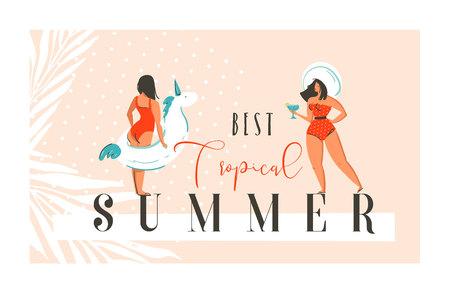 Hand getrokken vector abstracte exotische zomertijd grappige illustratie met meisjes, eenhoorn drijven op zand kust en moderne kalligrafie citaat Beste tropische zomer Stockfoto - 80632384