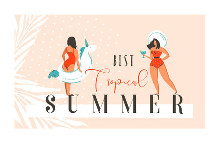 Hand drawn vector abstract exotic summer time funny illustration with girls, unicorn float on sand shore and modern calligraphy quote Best tropical summer