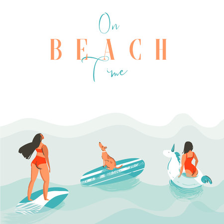 Hand drawn vector abstract exotic summer time funny illustration with surfer girls, unicorn float,surfboard and dog on blue ocean waves with modern calligraphy On beach time Illustration