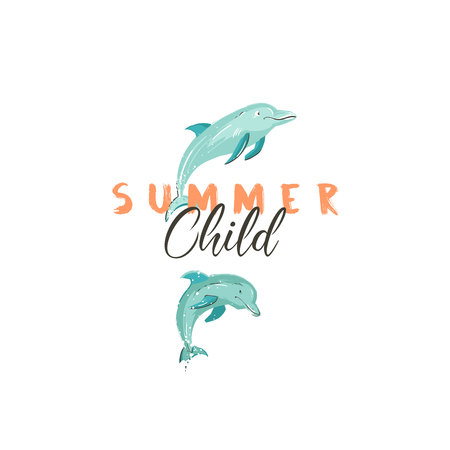 Hand drawn vector creative cartoon summer time sign or logotype with jumping dolphins and modern typography quote Summer Child isolated on white background Illustration