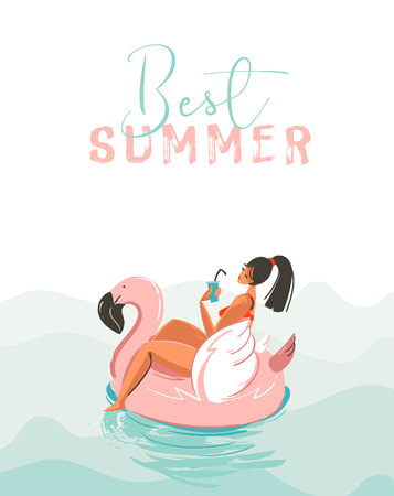 Hand drawn vector abstract fun summer time illustration card with girl swimming on pink flamingo float circle in blue ocean waves with modern calligraphy Best Summer isolated on white background Vettoriali