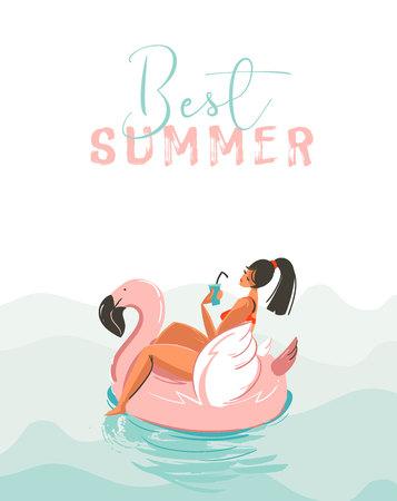 Hand getekende vector abstracte leuke zomertijd illustratie kaart met meisje zwemmen op roze flamingo float cirkel in blauwe oceaan golven met moderne kalligrafie beste zomer geïsoleerd op witte achtergrond